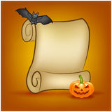 Halloween banner, card with empty paper scroll and pumpkin, bat. Blank ancient scroll of parchment wallpaper, background.  Stock Image