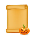 Halloween banner, card with empty paper scroll and pumpkin. Blank ancient scroll of parchment wallpaper, background.  Royalty Free Stock Image