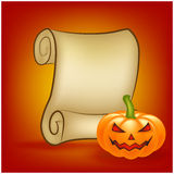 Halloween banner, card with empty paper scroll and pumpkin. Blank ancient scroll of parchment wallpaper, background. Poster or bro Royalty Free Stock Photos