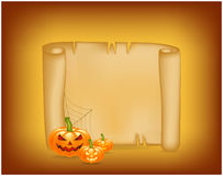 Halloween banner, card with empty paper scroll and pumpkin. Blank ancient scroll of parchment wallpaper, background. Poster or bro Stock Image
