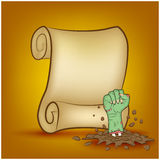 Halloween banner, card with empty paper scroll and zombie, monster hand. Blank ancient scroll of parchment wallpaper, background. Stock Images