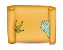 Halloween banner, card with empty paper scroll and zombie, monster hand. Blank ancient scroll of parchment wallpaper, background. Stock Photography