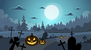 Halloween Banner Cemetery Graveyard Pumpkin Face Royalty Free Stock Images