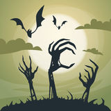 Halloween Banner Cemetery Graveyard Skeleton Hand Royalty Free Stock Photos