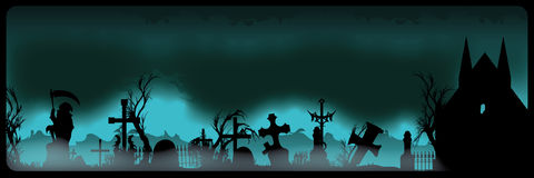 Halloween banner with cemetery Stock Photography