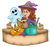 Halloween banner with characters Stock Photography