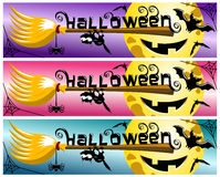 Halloween banner collection broom stick Royalty Free Stock Image