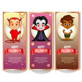 Halloween banner collection with cartoon character. Additional file in eps 10 royalty free illustration