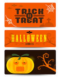 Halloween banner collection with flat design. halloween business Royalty Free Stock Photography