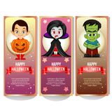 Halloween banner collection with spooky cartoon character. Additional file in eps 10 royalty free illustration