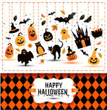 Halloween banner on colors and white background. Royalty Free Stock Images