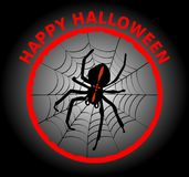 Halloween banner with cute black spider crusader in cobweb. Impressive combination of black, red and white,. Vector EPS 10 Royalty Free Stock Photography
