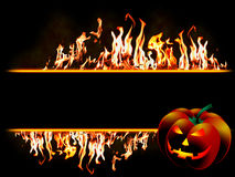 Halloween banner in flames. Halloween message Fire banner; Highly detailed frame illustration with flames Stock Photo