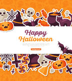 Halloween Banner with Flat Icons on Orange Backdrop Royalty Free Stock Image