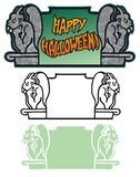 Halloween banner with gargoyles Stock Images