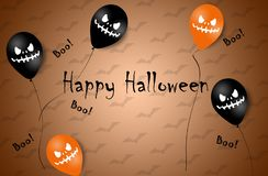 Halloween Banner with Halloween Ghost Balloons. Scary air balloons. Illustration. Pattern stock images