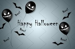 Halloween Banner with Halloween Ghost Balloons. Scary air balloons. Illustration. Pattern royalty free stock images