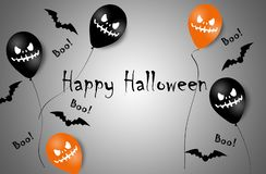 Halloween Banner with Halloween Ghost Balloons. Scary air balloons. Illustration. Pattern royalty free stock photo