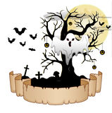 Halloween banner with ghost, pumpkin hung tree, bats and moon Royalty Free Stock Photography