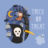 Halloween banner. Halloween banner with Grim Reaper holding scythe, ghost, owl sitting on tree branch against graves on cemetery and starry night sky on Stock Photography
