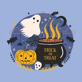Halloween banner. Halloween banner with funny spooky ghost, pumpkin or jack-o -lantern, skull and witch pot with brewing potion against dark starry night sky Stock Image