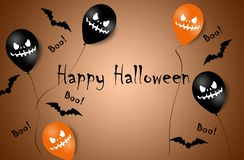 Halloween Banner with Halloween Ghost Balloons. Scary air balloons. Illustration. Pattern royalty free stock photography