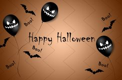 Halloween Banner with Halloween Ghost Balloons. Scary air balloons. Illustration. Pattern stock photo