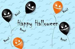 Halloween Banner with Halloween Ghost Balloons. Scary air balloons. Illustration. Pattern stock image