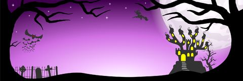 Halloween banner with haunted castle Stock Photo