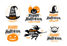 Halloween banner. Holiday, greeting card label or logo. Lettering vector illustration Royalty Free Stock Images