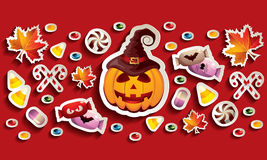 Halloween Banner with Jack O' Lantern, Leaves and Candies. Halloween banner with Jack O' Lantern, leaves and lots of different candies Royalty Free Stock Photo