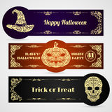 Halloween banner labels vector set Royalty Free Stock Photos