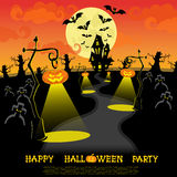 Halloween banner. Landscape with lamps from pumkins, bats and scary house for party on big moon background. Vector Stock Image