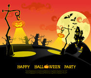 Halloween banner. Landscape with lamps from pumkins, bats and scary house for party on big moon background. Vector Royalty Free Stock Photos