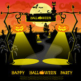 Halloween banner. Landscape with lamps from pumkins, bats and scary house for party on big moon background. Vector Royalty Free Stock Image
