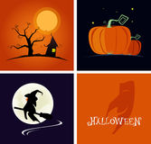 Halloween banner and logo flat design style. vector illustration Stock Photography