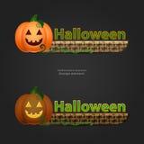 Halloween-banner met pompoen en mand Stock Foto