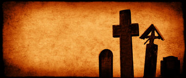 Halloween banner with old paper texture and medieval stone cross Royalty Free Stock Photography