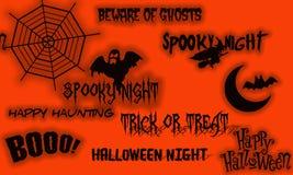 Halloween-banner op sinaasappel Stock Afbeeldingen