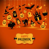 Halloween banner on orange background. Invitation to night party. Vector design template for halloween celebration with icons. Set of autumn symbols Stock Images