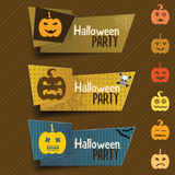 Halloween banner in origami style with pumpkin, web, bat and sku Royalty Free Stock Photography