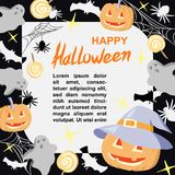 Halloween Banner, poster, template with pumpkins, spiders, bats and candy. Stock Images