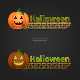 Halloween banner with pumpkin and basket Stock Photo