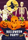 Halloween banner with pumpkin, skeleton and witch. Halloween party greeting banner with trick or treat pumpkin. October holiday spooky skeleton, witch and mummy Stock Image
