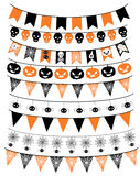 Halloween banner, bunting set. Vector collection of Halloween garlands in orange and black for scrapbooking and design Stock Images