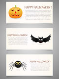 Halloween banner set with pumpkin,flying bat and spider. Stock Photos