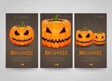 Halloween banner set with scary pumpkins. Poster, flyer or ticket design. Halloween party night. Vector illustration Stock Photo
