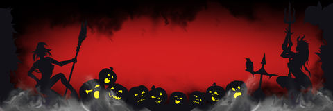 Halloween banner with sinister silhouettes Stock Photo