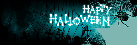 Halloween banner with a spiderweb and a cemetery silhouette Royalty Free Stock Image