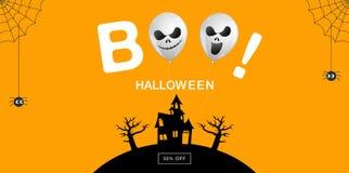 Halloween-Banner, Spook, boe-geroep, Eng, griezelig, luchtballons, temperaturen Royalty-vrije Stock Afbeeldingen